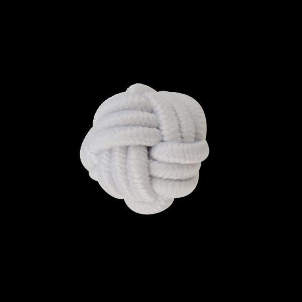 Kleiner Posamenten Kugel Knopf in Weiß wie ein geflochtener Knoten
