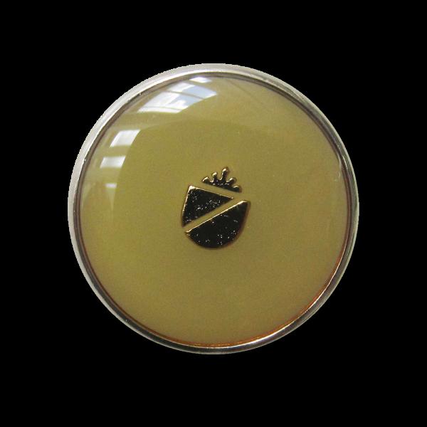 Metall Knopf mit Wappen mit Öse in glänzend Hellgrün und Silberfarben