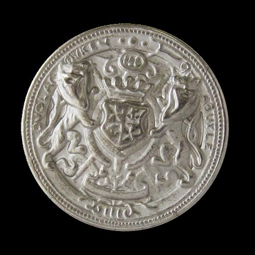 www.Knopfparadies.de - 1606sm - Silberne Metallknöpfe mit Wappen, Krone & Löwen