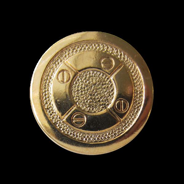 Interessanter goldfb. Metall Knopf mit Schrauben Motiv