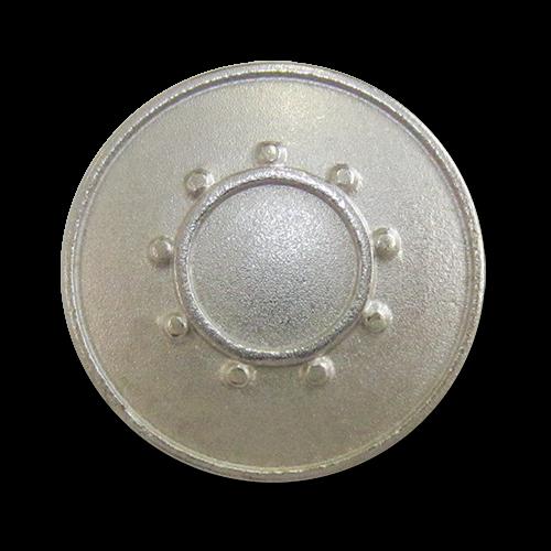 www.Knopfparadies.de - 2276si - Silberne Ösenknöpfe aus Metall mit Sonne oder Kreis