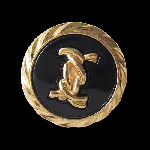 Elegante schwarz goldfarbene Kunststoff Ösen Knöpfe in Kordel Optik