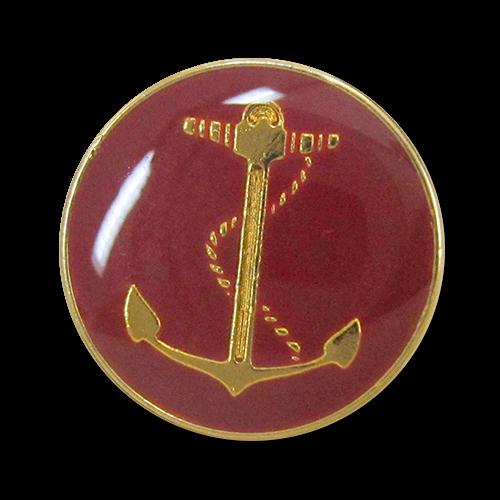 www.Knopfparadies.de - 5459ro - Rot goldfarbene Ösen Metallknöpfe mit Ankermotiv