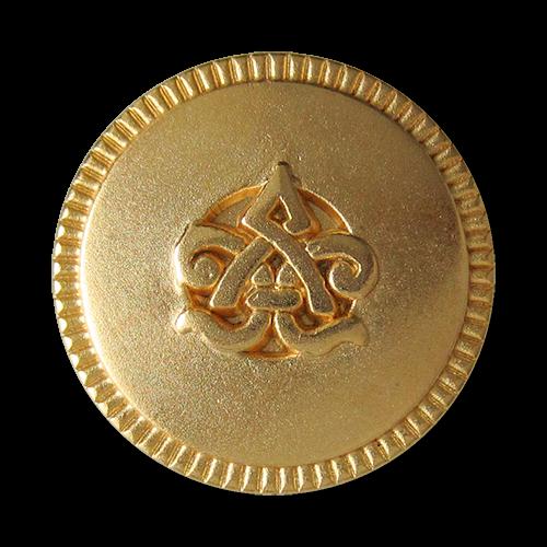 www.Knopfparadies.de - 3563mg - Beeindruckende matt goldene Metallknöpfe mit Symbol