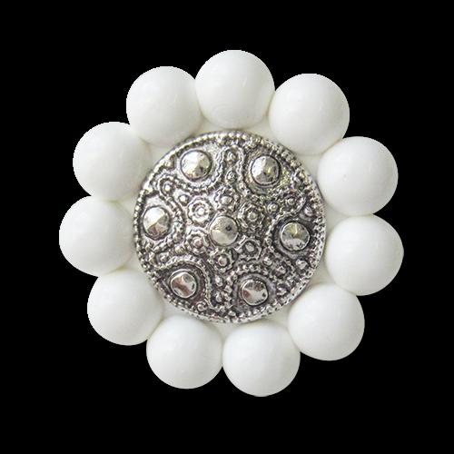 www.Knopfparadies.de - 3588ws - Extravagante Zierknöpfe aus Kunststoff mit Perlenrand