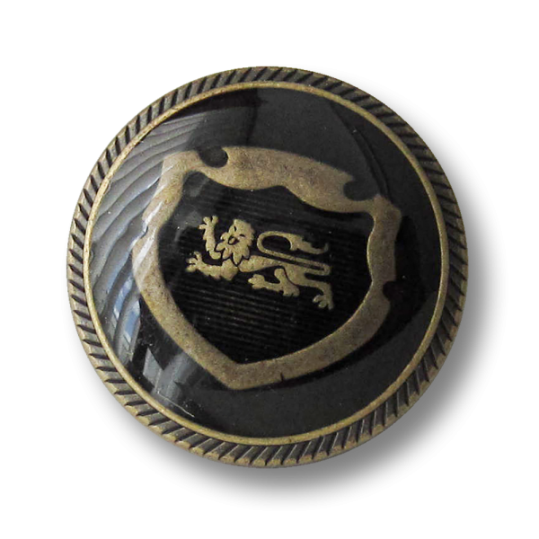 Messing-schwarzer Blazer Knopf mit Wappen und Löwe