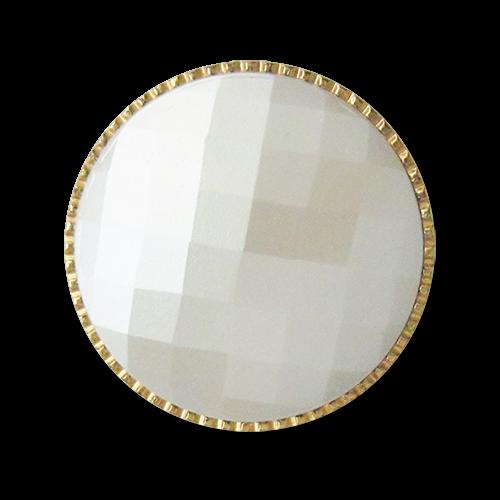 www.knopfparadies.de - 3616gb - Kunststoffknöpfe in weiß und gold
