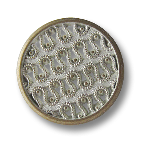 Bildschöner Metall Ösen Knopf mit filigranem Spitzen Muster in Bicolor