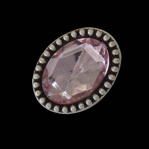www.knopfparadies.de - 1697rs - Ovale Metallknöpfe mit glitzerndem Schmuckstein in rosa