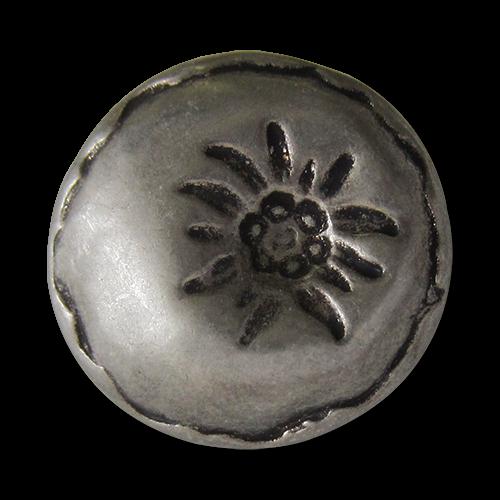 www.Knopfparadies.de - 0240as - Silberne Trachtenknöpfe aus Metall mit Edelweiß
