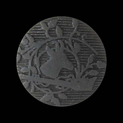 www.Knopfparadies.de - 1607sc - Eisenfarbene Kunststoffknöpfe mit Gämse Motiv