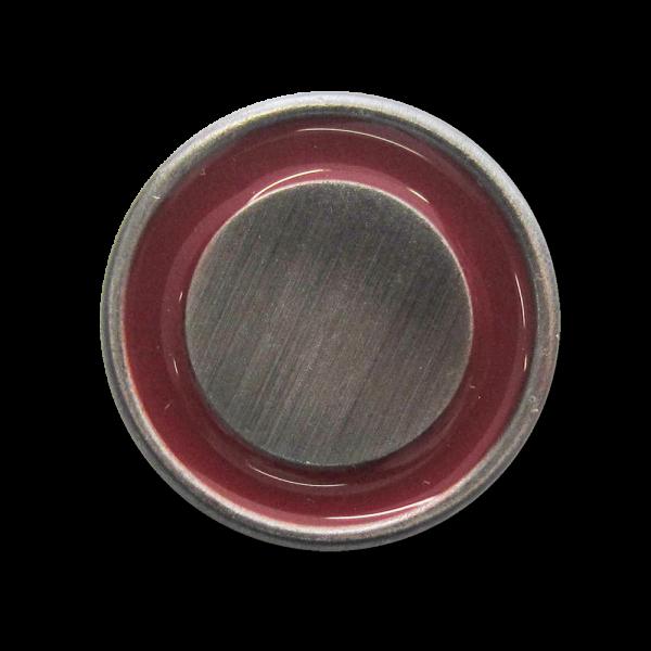 Eisenfarb. Metall Ösen Knopf mit rot glänzendem Ring