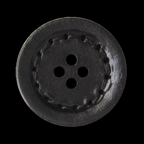 www.knopfparadies.de - 3126sc - Schwarze Lederknöpfe, flach mit vier Löchern und Ziernaht