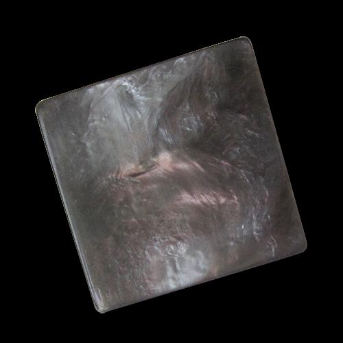www.Knopfparadies.de - 0820dg - Perlmuttartig grau rosa melierte Kunststoffknöpfe in quadratischer Form
