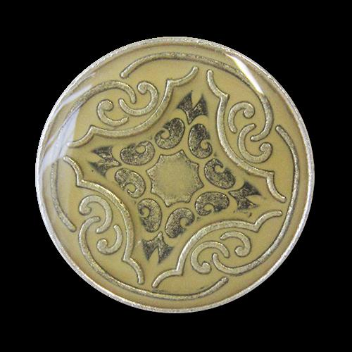 www.knopfparadies.de - 3277ge - Günstige B-Ware Metallknöpfe mit nostaglischem Muster