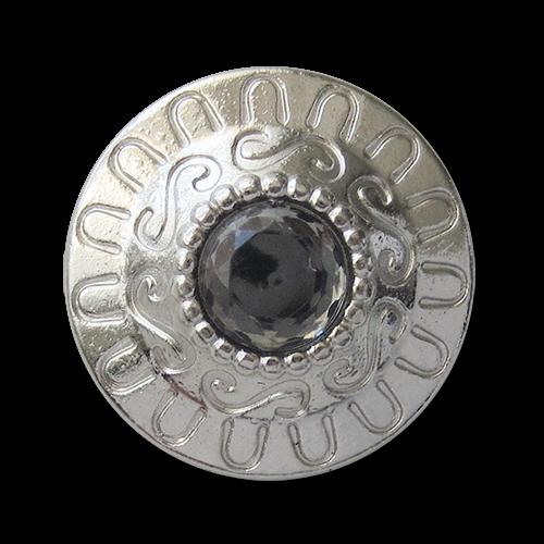 www.knopfparadies.de - 3440sg - Glänzend silberfarbene Metallknöpfe mit Glitzerstein in der Mitte