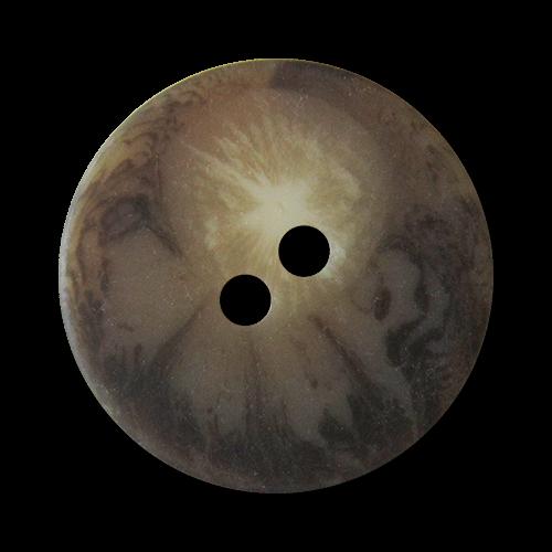 www.Knopfparadies.de - 2719br - Braun melierte scheibenförmige Zweiloch Kunststoffknöpfe In Horn-Optik