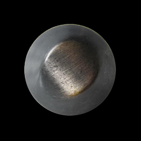 Stark gewölbter eisenfarb. Metall Knopf in Kegel Form