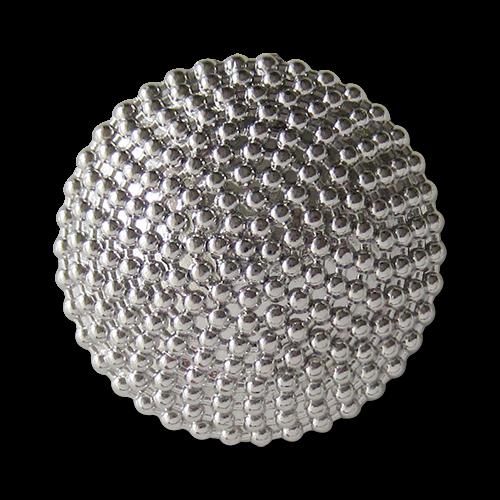 www.Knopfparadies.de - 1298gs - Bildschöne glänzend silberne Metallknöpfe mit Ketten Design