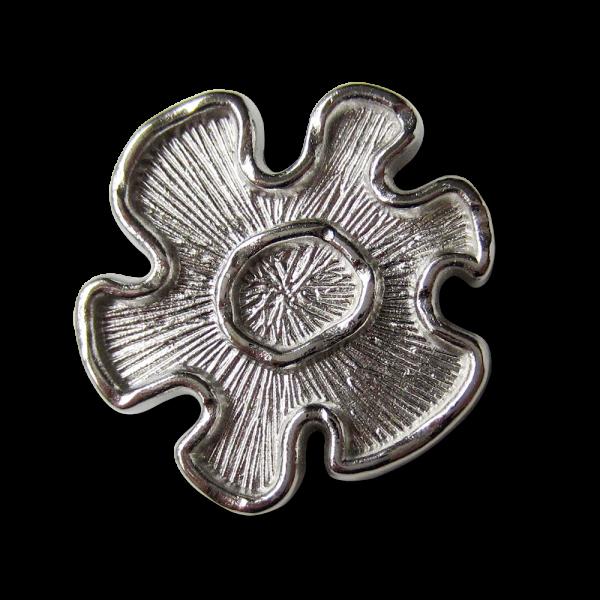 Moderner silberfarb. Ösen Metall Knopf in Blumen Form