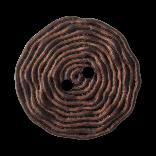 www.Knopfparadies.de - 5903db - Originelle dunkelbraun melierte Kunststoffknöpfe wie aufgerolltes Garn