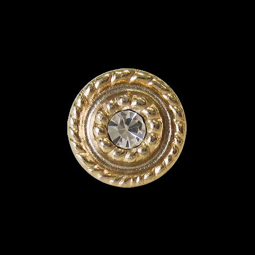 www.Knopfparadies.de - 1215go - Kleine Metallknöpfe in Gold mit Glitzerstein