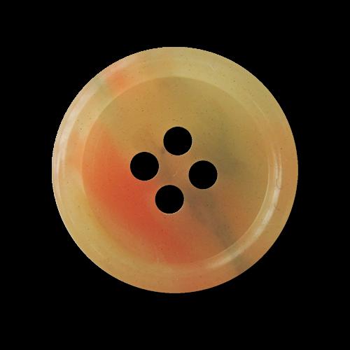 Zart grün & orange melierter Vierloch Kunststoff Knopf