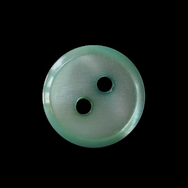 Kleiner hellgrün bis mintfb. Zweiloch Perlmutt Knopf