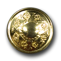 Goldfarbener Metallknopf mit Blütenmuster