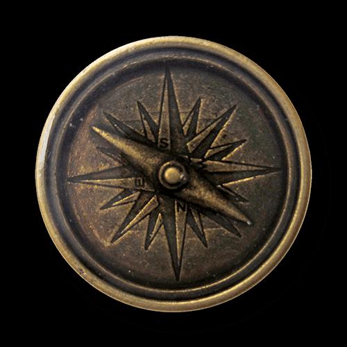 Altmessingfarbene Metallknopf wie Kompass