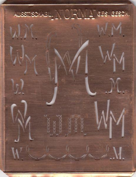 www.knopfparadies.de - WM-sch-NORMA - Aussteuerschablone, Wäsche-Schablone NORMA Kupfer Monogramm WM