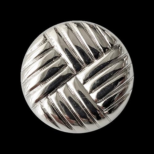 www.knopfparadies.de - 2034si - Silberfarbene Kunststoffknöpfe mit Flechtmuster