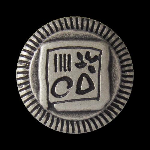 www.Knopfparadies.de - 0851as - Phantasievolle silberne Metallknöpfe mit geschwärztem Viereck & Symbolen