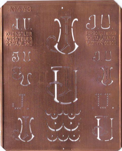 Stickschablone, Wäsche-Schablone Kupfer Monogramm JU