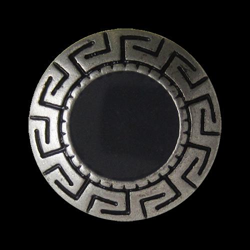 www.Knopfparadies.de - 0171as - Alt wirkende schwarz silberne Metallknöpfe mit Mäander Band