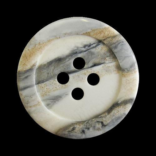 www.Knopfparadies.de - 1597gb - Weiß grau beige marmorierte Vierloch Kunststoffknöpfe