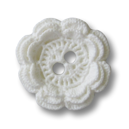 www.knopfparadies.de - 5280we - Hübsche Kunststoffknöpfe in weiß, fast wie gehäkelt