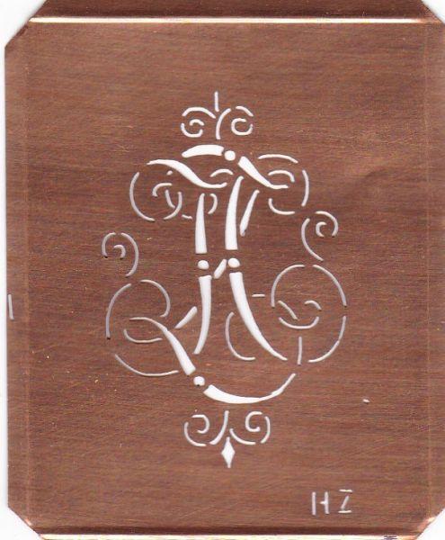 www.knopfparadies.de HZ-sch-555 - Verschnörkelte, alte Kupferschablobe zum Sticken von Monogrammen HZ