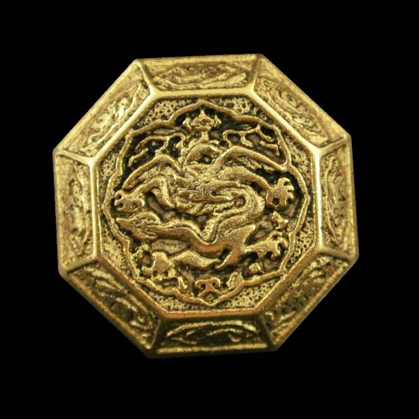 Goldfb. 8-eckiger Metallknopf mit Drachen