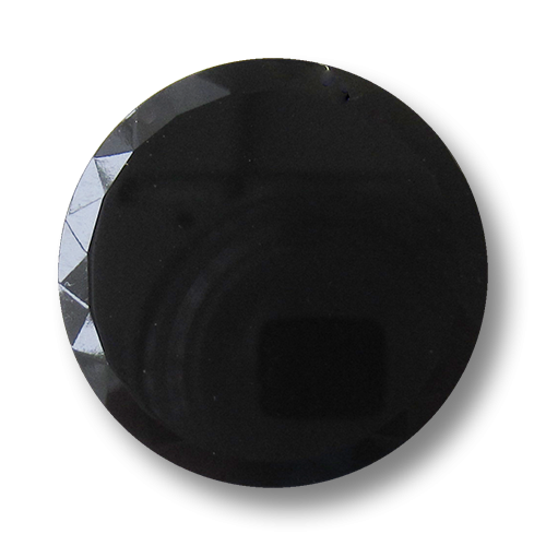 www.Knopfparadies.de - 1532sc - Edle große schwarze Glasknöpfe mit facettiertem Rand