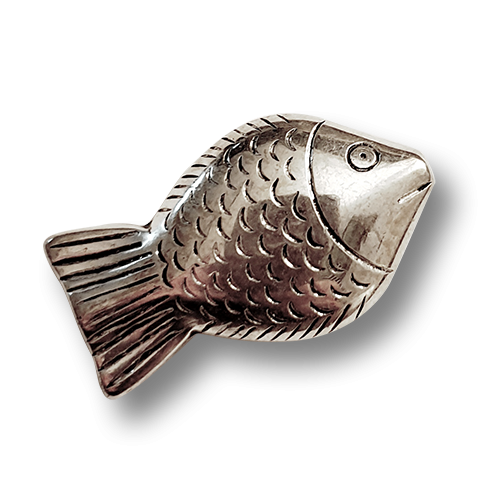 www.knopfparadies.de - d297si - Kunststoffperle in Fisch Form - 35mm lang