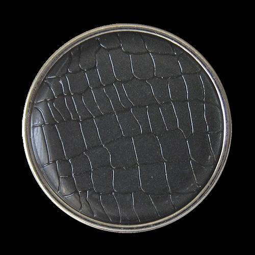 www.Knopfparadies.de - 1673gs - Silberne Metallknöpfe mit dunkelgrauem Reptil Muster