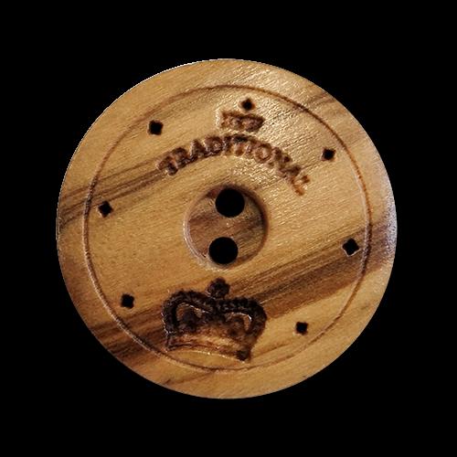 www.knopfparadies.de - 6141ho - Elegante Holzknöpfe mit zwei Löchern