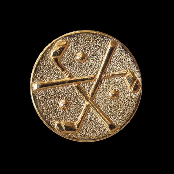 Goldfb. Metall Knopf mit Muster aus Golfschlägern