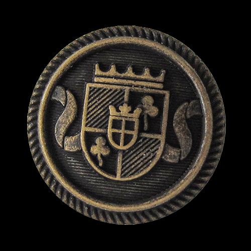 www.knopfparadies.de - 5754am - Blazerknöpfe aus Metall mit gekröntem Wappen