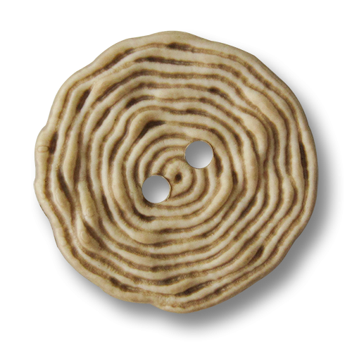 www.Knopfparadies.de - 5903be - Originelle beige melierte Kunststoffknöpfe wie aufgerolltes Garn