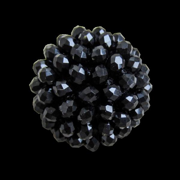 Extravaganter Halbkugel Knopf mit schwarzen Perlen