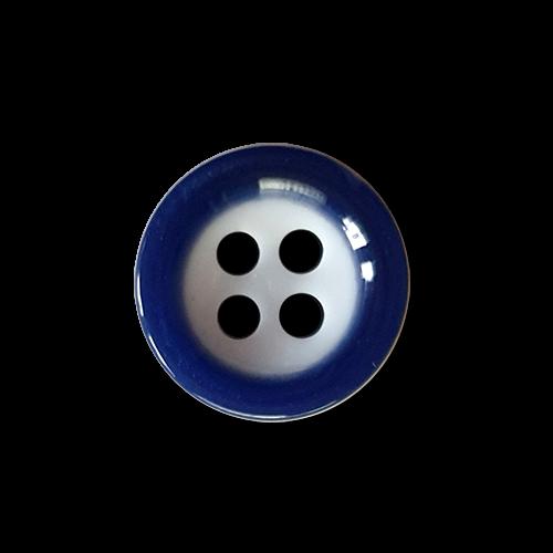 www.knopfparadies.de - k292bl - Blau-weiße 4-Loch Hemdenknöpfe