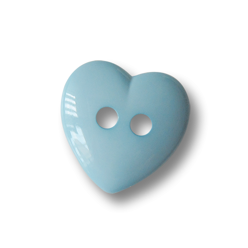 www.Knopfparadies.de - 0789bb - Bezaubernde hellblaue Herzknöpfe aus Kunststoff
