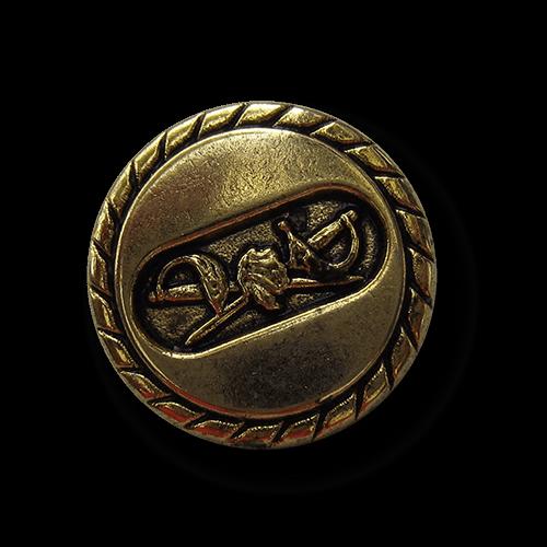 Altgoldfarbener Metall Knopf mit gekreuzten Degen